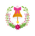 merry christmas celebration bell with bow wreath vector image vector image