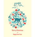 Merry Christmas with monkey in blue-red colors vector image