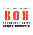 narrow stencil-plate sanserif font vector image vector image