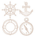 nautical symbols - steering wheel anchor vector image
