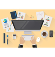 Office workspace flat style in top view vector image vector image