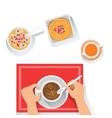 Pancakes Porridge And Coffee Classic Breakfast vector image vector image