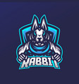 rabbit esport gaming mascot logo template for vector image