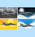 set army plane on different weather vector image vector image