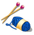 set of blue tangle of wool yarn and knitting vector image vector image