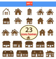 set of classic homes in brown color vector image vector image