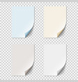 set of empty paper sheets with curled corners vector image vector image
