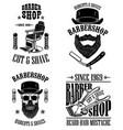 set vintage barber shop emblems badges and vector image vector image