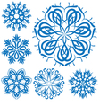 snowflake blue flower on a white background set vector image vector image