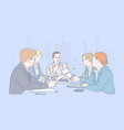 teamwork meeting cooperation business concept vector image