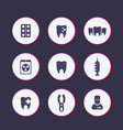 teeth dental care tooth cavity icons set vector image