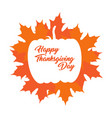 thanksgiving label with leaves vector image vector image