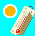 thermometer with blue sky and sun hot summer day vector image