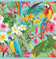 tropical flowers and parrots seamless pattern vector image vector image