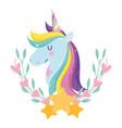 unicorn with rainbow hair flowers stars decoration vector image vector image