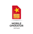vietnam mobile operator sim card with flag vector image