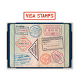 visa stamps for usa and korea georgia and france vector image vector image