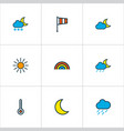 weather icons colored line set with moonbeam vector image