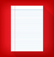 notebook paper isolated red background empty vector image