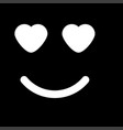 smile with heart eyes white color icon vector image