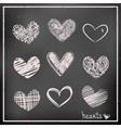 Hand drawn hearts on chalkboard vector image