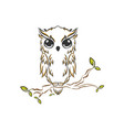abstract owl outline hand drawn bird design vector image vector image