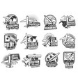 airline flights air transport icons set vector image vector image