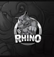 angry strong rhino mascot e sport logo design