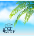 beautiful beach scene with palm tree leaves vector image vector image