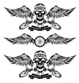 biker theme labels with wheelbike and skulls with vector image vector image