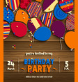 birthday party invitation card with balloons vector image vector image