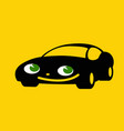 black cute car with green eyes vector image