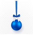 blue christmas ball with bow xmas glass ball vector image vector image