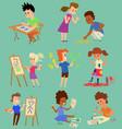 boy and girl artist creative play games vector image