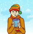 boy drinking vector image vector image