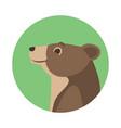 cartoon bear head flat style vector image vector image