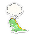 cartoon dinosaur and thought bubble as a vector image vector image