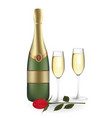 champagne bottle with two glasses and rose vector image vector image