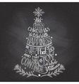Christmas tree hand-lettering with chalk vector image