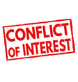 conflict interest grunge rubber stamp vector image vector image