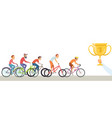 diverse man competition men ride bicycles hand vector image vector image