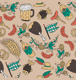 doodle hand drawn octoberfest seamless pattern vector image vector image