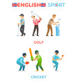 english sport poster golf and cricket vector image