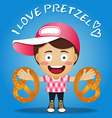 happy man carrying big pretzel on his arms vector image