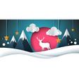 happy new year merry christmas deer vector image vector image