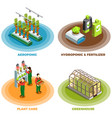 hydroponic and aeroponic 2x2 design concept vector image vector image