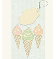 Ice cream cones with blank tag vector image vector image