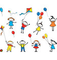image playful children with balloons and kites vector image vector image
