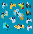 isometric support workers collection vector image vector image