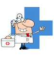 Male Doctor With Phone Ringing Over A Blue Cross vector image vector image